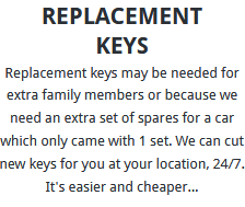 Replacement Keys London